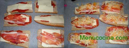 crostinis de jamón y queso