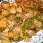Pollo de corral en salsa